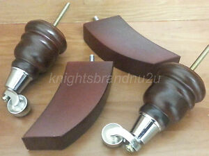 4x-WOODEN-FURNITURE-LEGS-FEET-WITH-CHROME-CASTORS-SETTEE-CHAIRS-SOFAS-M8-8mm