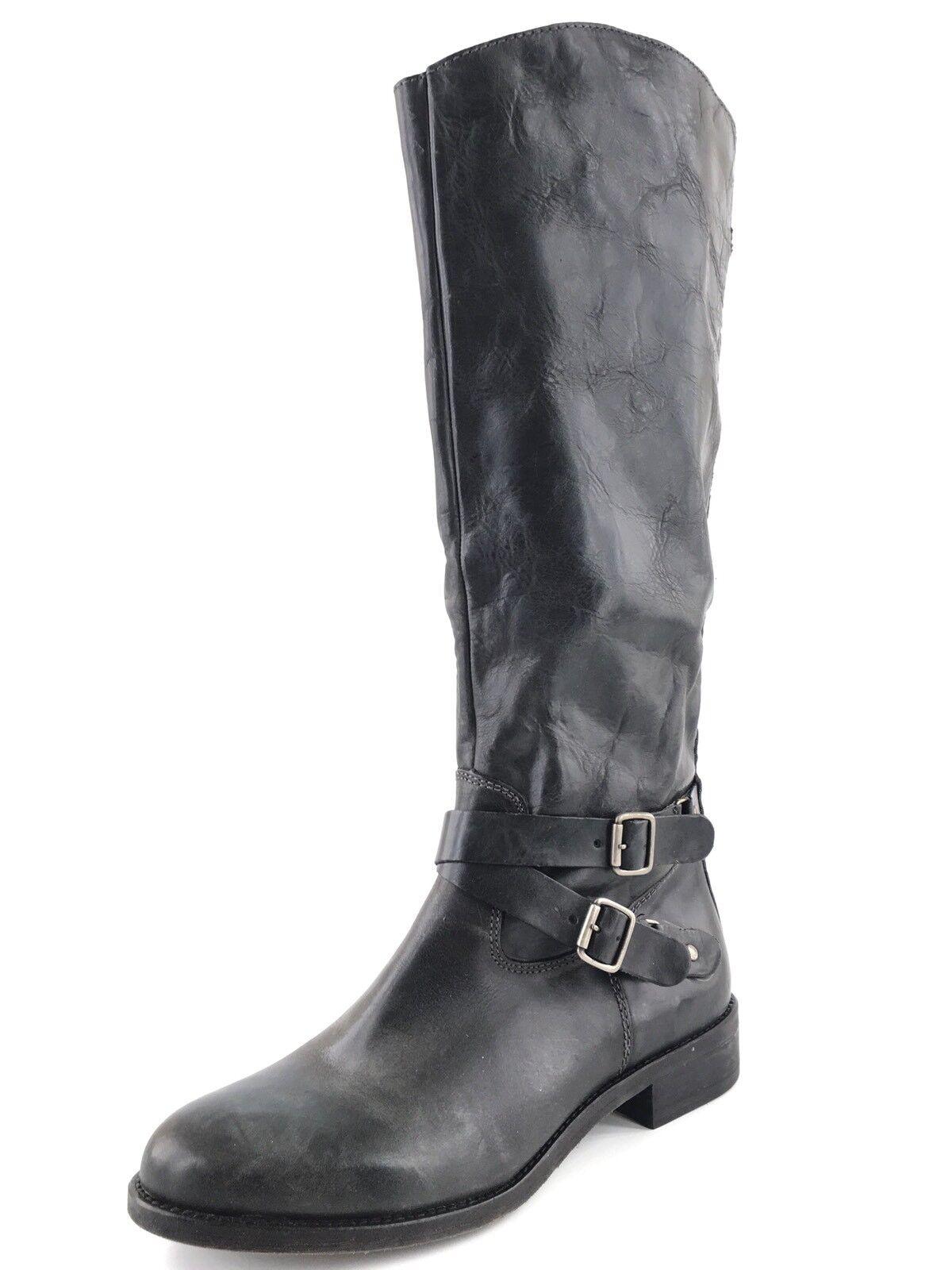 miglior servizio New Hinge nero Distressed Leather Knee High Riding Riding Riding stivali donna's Dimensione 9.5 M   più economico