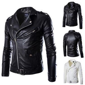Fashion-Men-039-s-PU-Leather-Jacket-Lapel-Slim-Punk-Biker-Motorcycle-Coat-Outwear