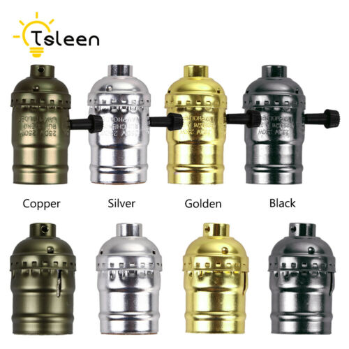E27 Ancient Edison Incandescent Light Bulb Socket LED Lamp Holder+Switch 2B80