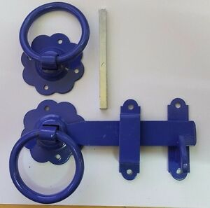 PLAIN BLUE Gate Ring Latch Handle /& Fixings HEAVY DUTY Garden Fence Door Metal