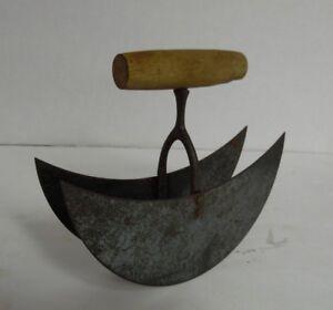 Vintage Dual Blade Wood Handled Food Vegetable Chopper Dicer Free
