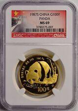 1987-S China, People's Republic Gold 100 Yuan Panda NGC MS69