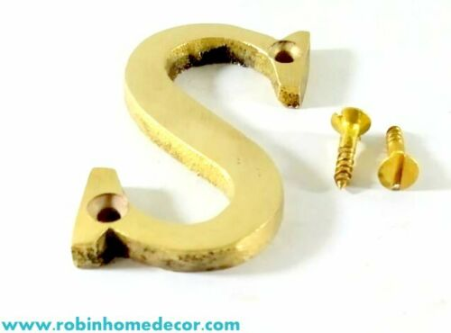 76MM 3Inch Alphabet /'S/' brass Letter Design Door House Address With 2 Screws