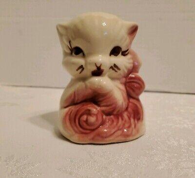 Antique Or Vintage Pottery Kitten Cat Planter Beautiful Burgundy Ceramic Cute Ebay