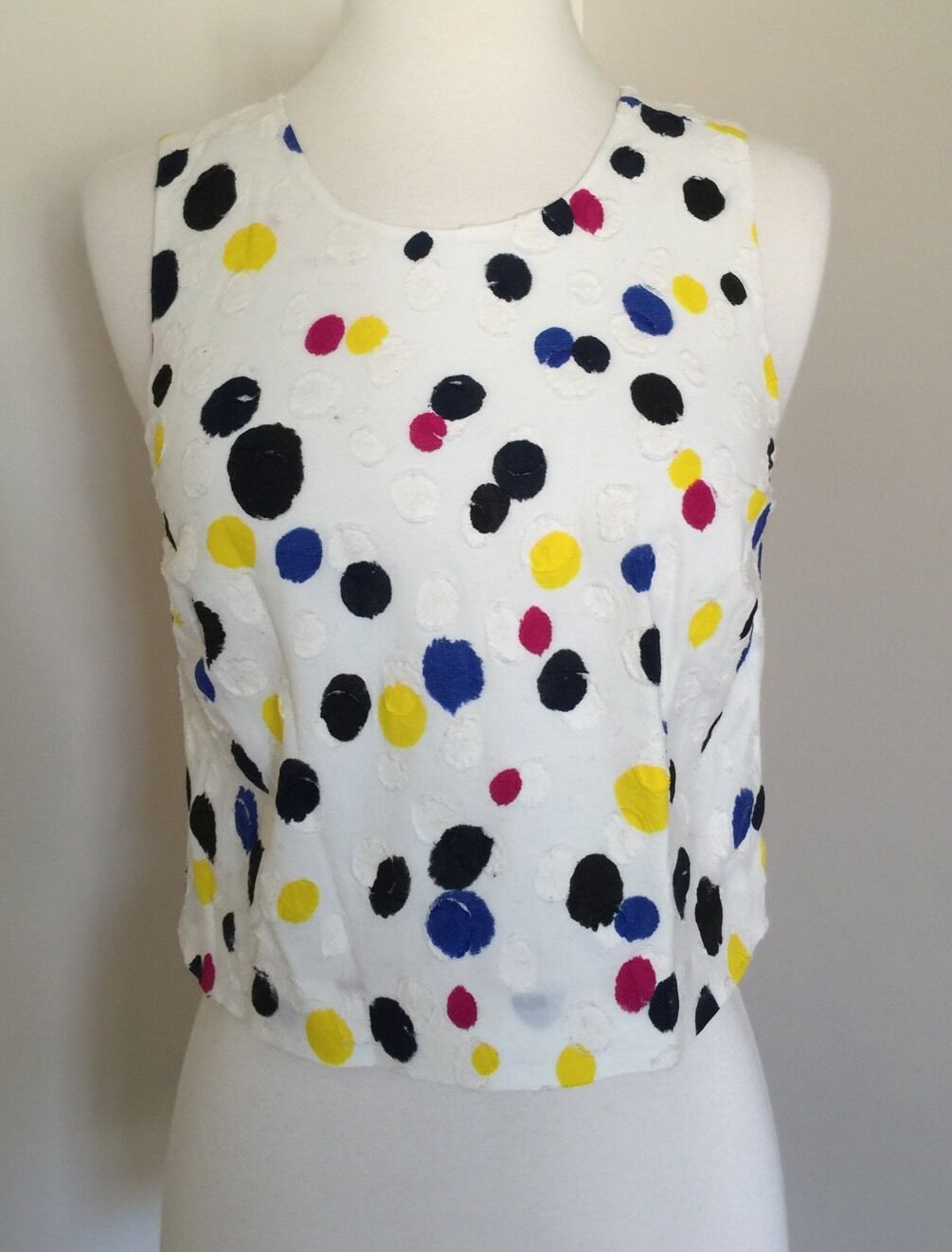Jcrew Collection clip-dot top in cotton schwarz Blau Gelb Multi 0 F2253 NEW