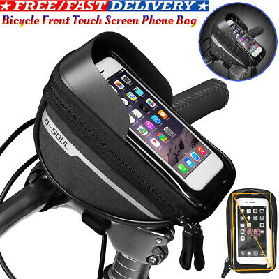 Bicycle Front Frame Touch Screen Waterproof Phone Bag MTB Top Tube Pannier