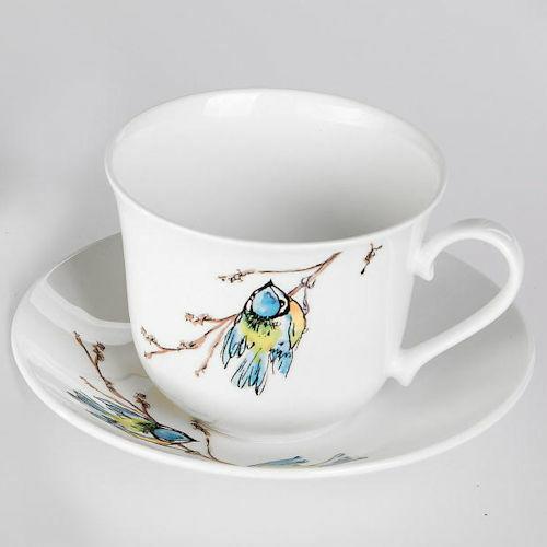 Jumbotasse Unterteller Birds Roy Kirkham Vögel Porzellan Blaumeise Rotkehlchen