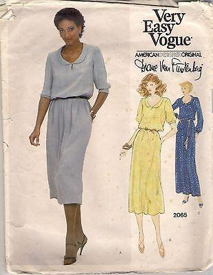 Vogue Sewing Pattern 2065 Diane Von Furstenberg Vintage Dress, Size 10