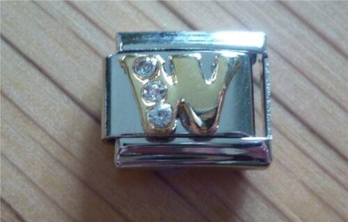 Italian Charms Rhinestone Letter W Fits Classic Size Italian Charm Bracelet