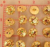 72 Metal Shank Buttons Geometric Rectangle Design 3 Color Enamel Center 5/8