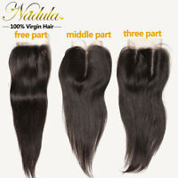 44 Brazilian Lace Closure Straight Hair Closure Free/middle/three Part 10-20
