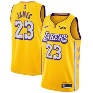 LeBron James #23 Los Angeles Lakers Men's Gold w/ stars on hips ...