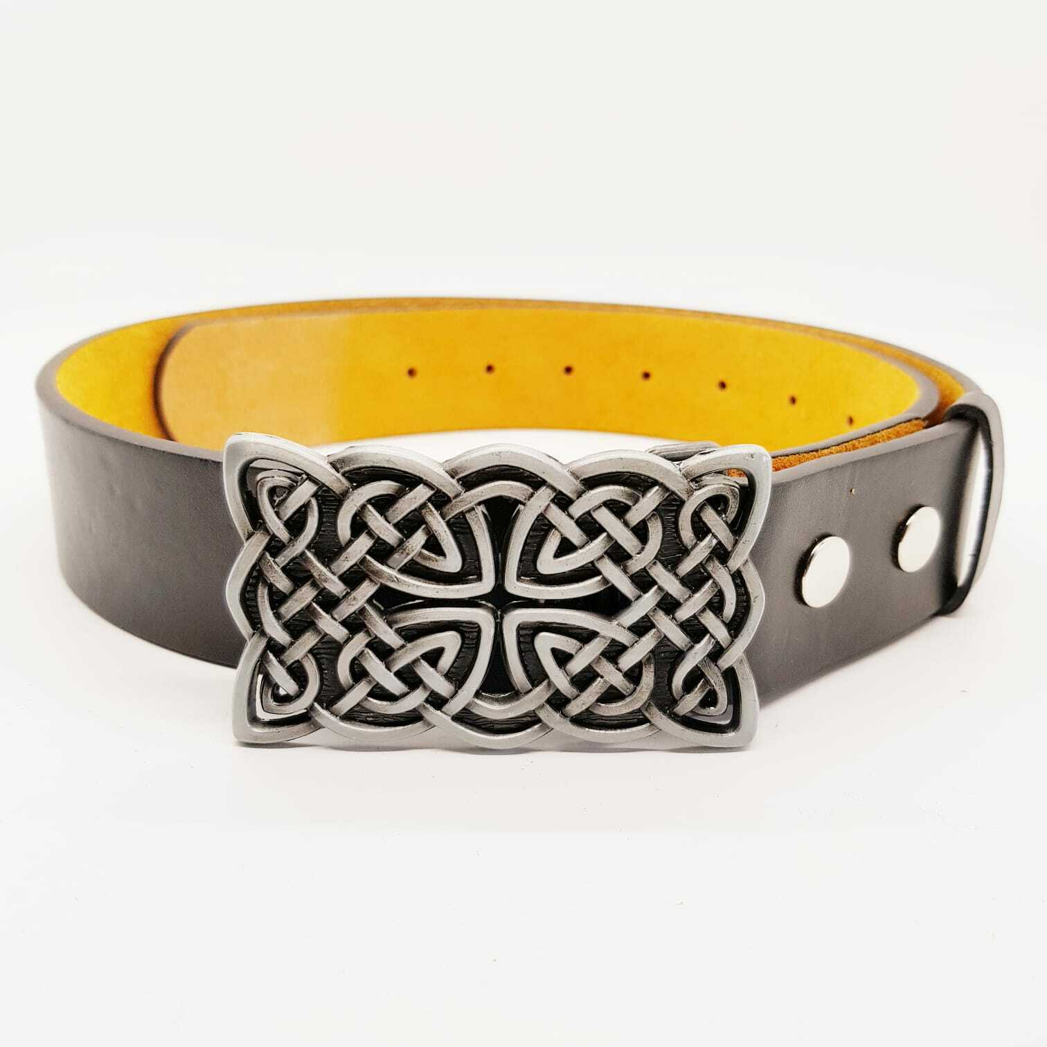 Celtic Knotwork Belt & Buckle Iron Cross Biker Pagan Gaelic Viking Norse Nordic