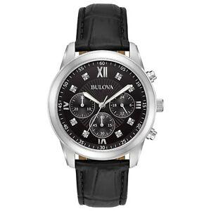 Bulova-Men-039-s-96D134-Quartz-Chronograph-Black-Dial-Black-Leather-Strap-40mm-Watch