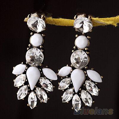 Women Fashion Snug White Resin Drop Shiny Rhinestone Dangle Earrings Ear Studs