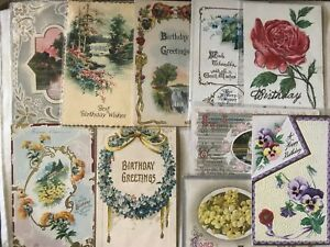 10-Antique-Vintage-BIRTHDAY-POSTCARDS-Greetings-Holiday-Flowers-Embossed