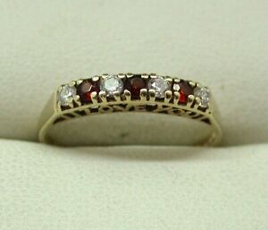 Very-Nice-9-carat-Gold-Red-And-White-Cubic-Zirconia-Half-Eternity-Style-Ring