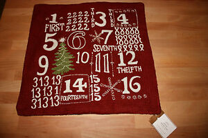 """NWT Pottery Barn Red ADVENT Crewel Embroidered Holiday Pillow Cover 18 x 18"""""""