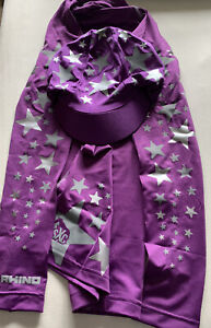 Super X Cross Country Base Layer S/M & Hat Silk Purple Silver/Grey Starburst New