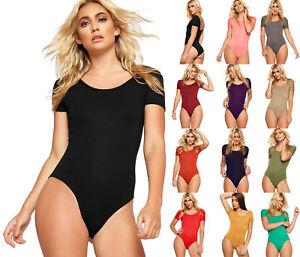 New-Women-Short-Sleeve-Scoop-Neck-Plain-Ladies-Stretch-Bodysuit-Leotard-Top-8-14