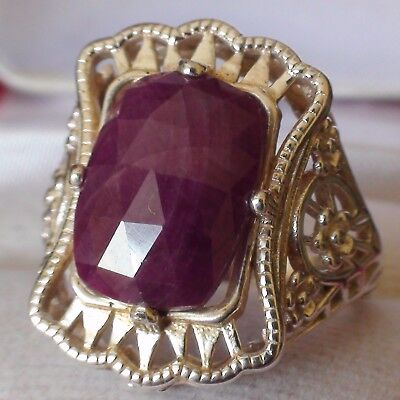 7.50 ct NATURAL! UNHEATED/UNTREATED RUBY  RING 925 STERLING SILVER.SIZE 7.5.