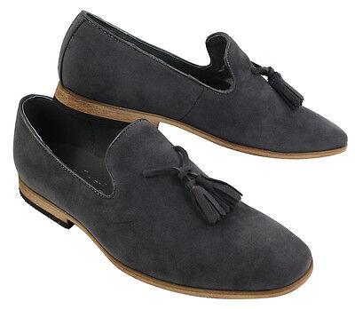 Mens Suede Loafers Driving Shoes Slip On Tassle Design Leather Line Black Comfor