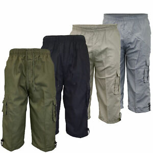 Mens-Combat-Cargo-Shorts-3-4-Length-Plain-Sport-Fashion-Casual-Summer-New