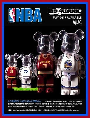 1e46e1d2 Details about 2017 Medicom 400% NBA CAVALIERS & WARRIORS Be@rbrick Set of 2  Bearbrick IN STOCK
