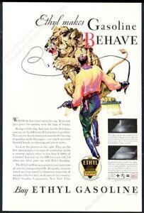 1943 lion tamer circus Karl Godwin art Ethyl gas vintage print ad