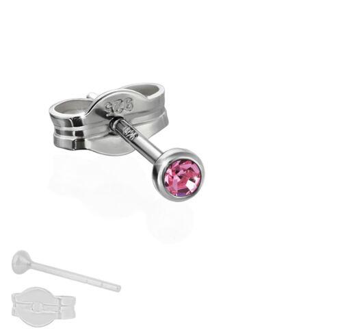 Single Ohrstecker 925 Silber rhodiniert 2,50mm pink Zirkonia Damen Herren 6560