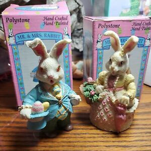 """Pair Of Mr & Mrs Bunny Rabbit Easter Spring Resin figurines 5"""""""