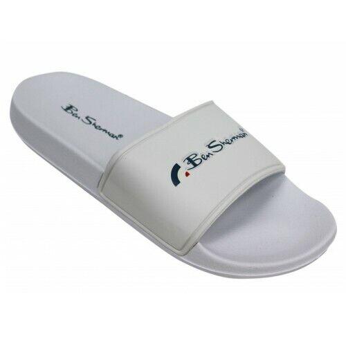 BEN SHERMAN Slip on Sliders Slippers Flip Flops White New Mens