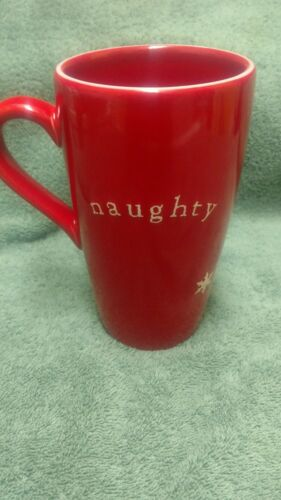Pottery by Santa Christmas Naughty Nice Red White Snowflakes Coffee Mug Cup