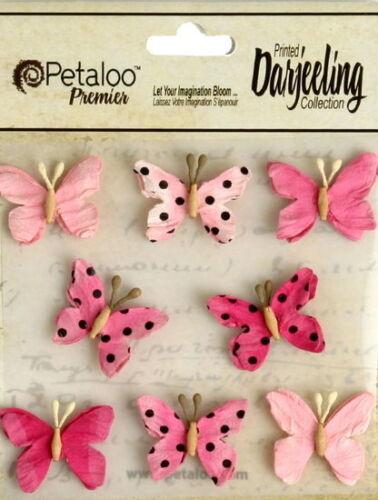 BUTTERFLY Mix FUCHSIA Printed 8 Teastained Paper  20-25mm Darjeeling Petaloo Box