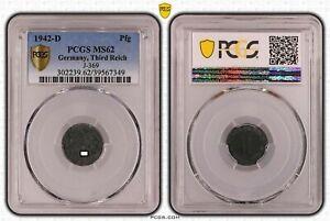 Tercer Imperio 1 Peniques 1942 D Prfr. PCGS MS62 52538
