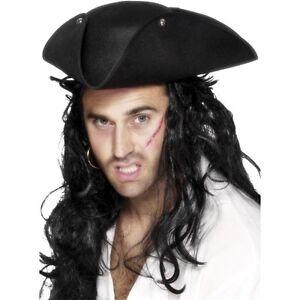 Pirates of the Caribbean Jack Sparrow Tri Corner Buccaneer Hat Wig Halloween
