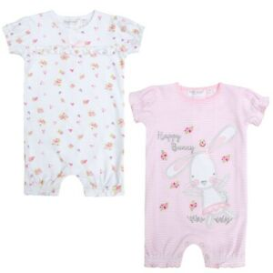 Dutiful Baby Town Lot 2 Barboteuses Rose Lapin /blanc Floral Bébé 1 Mois à 9 Mois At All Costs Other Newborn-5t Girls Clothes