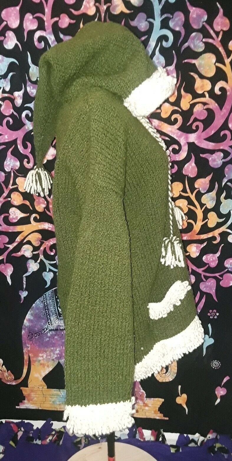 Sisandina Handcrafted 100% Wool Womens Size M L Green and White Sweater