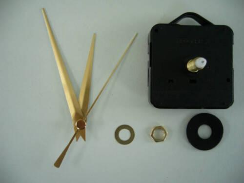 QUARTZ CLOCK MOVEMENT LONG SPINDLE 86mm GOLD HANDS