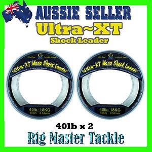 2x-Shock-Leader-100m-Spools-Ultra-XT-Fishing-Line-Monofilament-40lb-Rig-Master