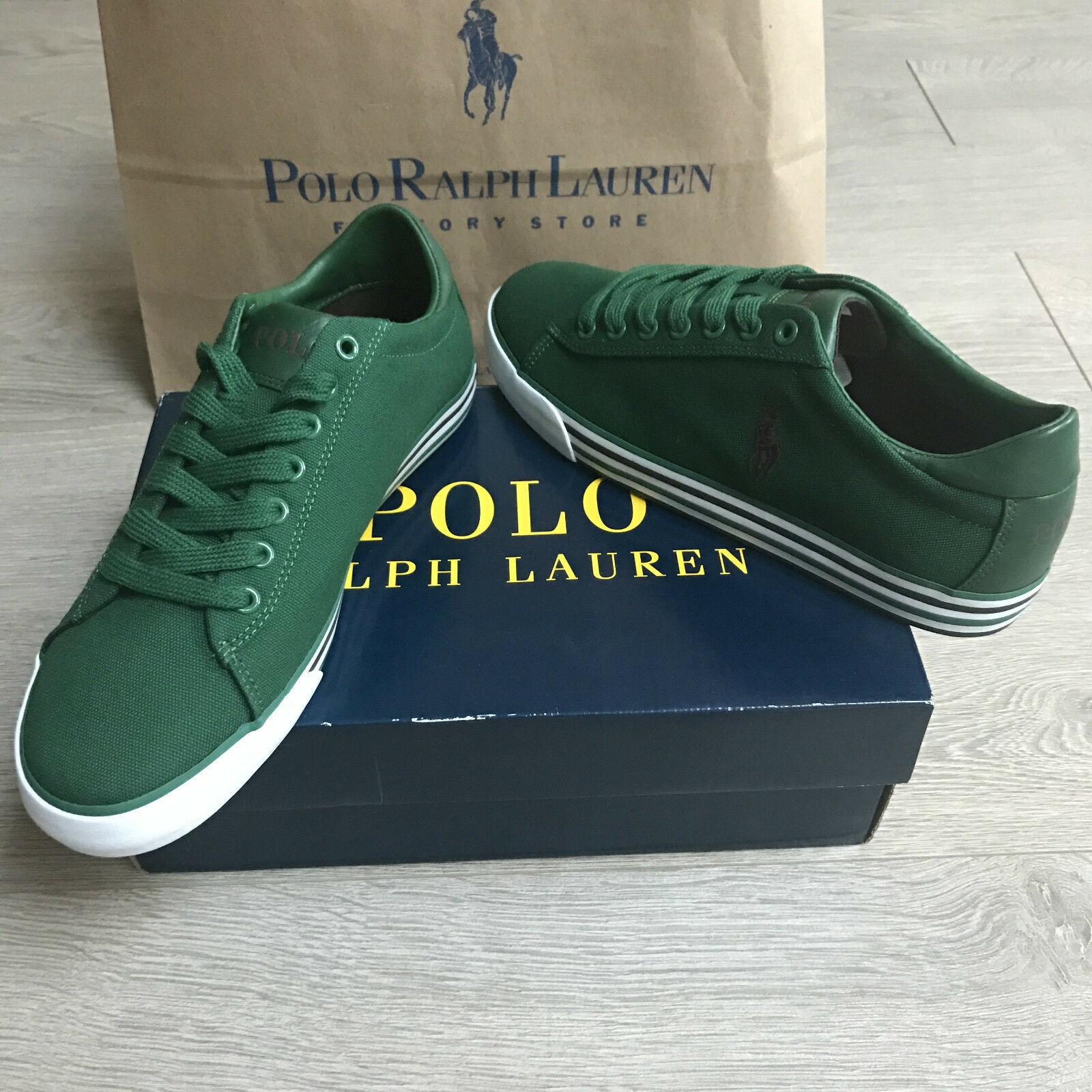 BNIB Ralph Lauren canvas trainers sneakers Eu 40 Gorgeous Green 100%Genuine