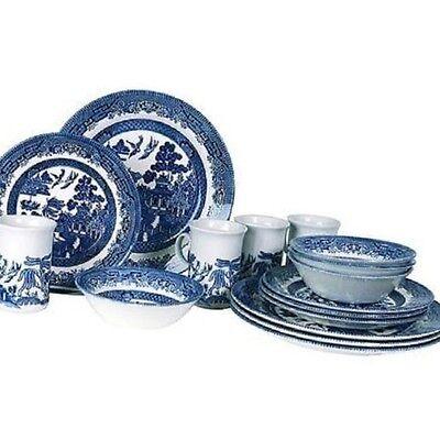 Blue Willow Dinnerware Dishes Set Kitchen Dinner 16 Piece Service 4 Pattern New