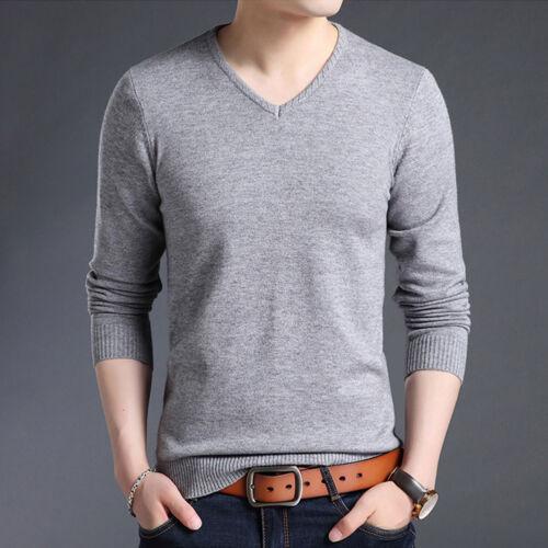 cuello de Sweater con V Spring Slim en Solid larga Suéter manga Knitwear Comfy Camisetas pUwax