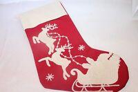 Neiman Marcus Red Cotton Santa Sleigh Reindeer Embroidered Stitch Stocking