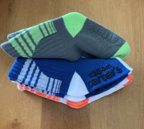 Grey Green Orange Size 12-24M Lot Of 2 Carter/'s 3-Pack Crew Boys Socks Blue