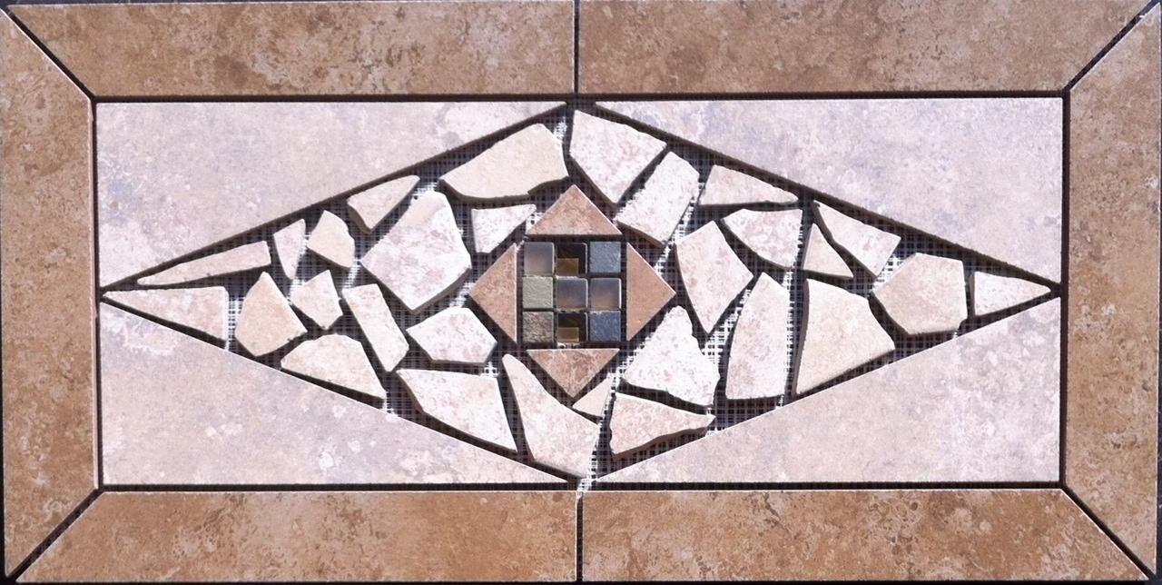 22 1 4  X 11   Tile Medallion - Daltile Stratford Place & glass tile series