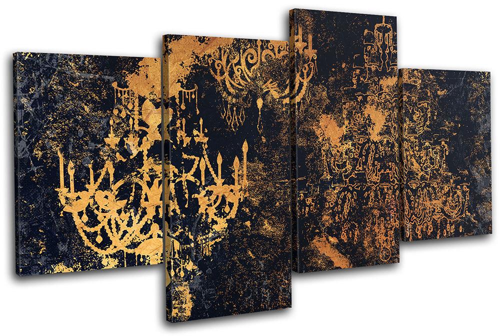 Grunge Vintage Retro Chandelier Abstract MULTI TELA parete arte arte arte foto stampa 864527