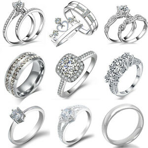 Women-Fashion-Crystal-White-Gold-Plated-Wedding-Engagement-Bridal-Rings-Jewelry