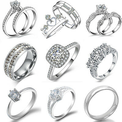 Women Fashion Crystal White Gold Plated Wedding Engagement Bridal Rings Jewelry